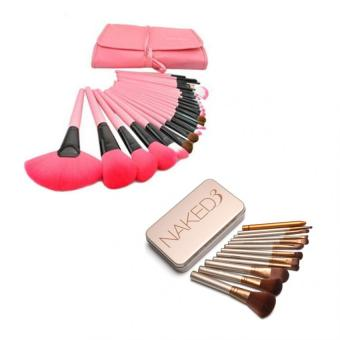 Make-Up For You 24pcs Brush (Pink) with Naked 12 pcs Professional 3Power Makeup Brushes