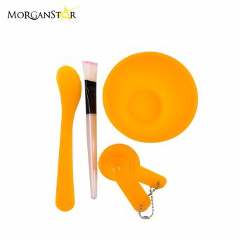 Makeup Beauty DIY Facial Face Mask Bowl Brush Spoon Stick Tool Set(Yellow)