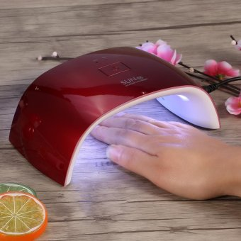 Manicure UV Nail Lamp 18W Polish Curing Double Light Dryer Machine(US Plug Red) - intl