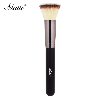 Matto Makeup Brush Flat Top Kabuki for Foundation Blending Liquid Cream Mineral Translucent Powder 1pcs (Black) - Intl