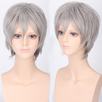 Mens Cosplay Wigs Short Costume Wigs for Cosplay Party 3-Silver Grey - intl