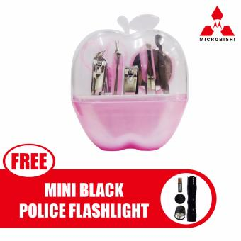 Microbishi Manicure Set 9 in 1 (Pink) with free Mini Black PoliceFlashlight