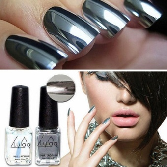 Moonar 2Pcs 6ML Mirror Effect Chrome Metallic Silver Nail Art Varnish Polish & Base Coat DIY Nail Art Tool - intl
