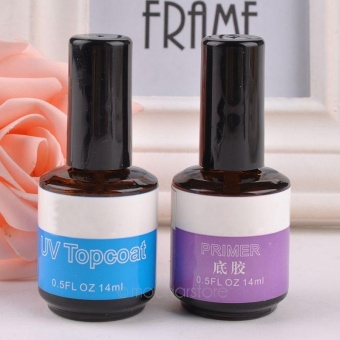 Moonar 2pcs Nail Art Accessories Primer Base & Top Coat Gel Set For Acrylic UV Gel System - intl