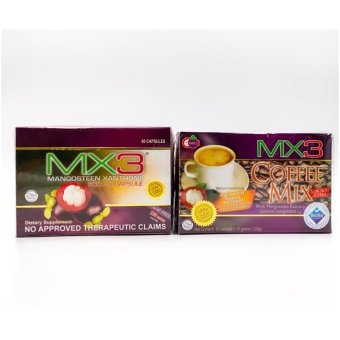 Mx3 mangosteen xanthone set of 500mg capsules and coffee mix