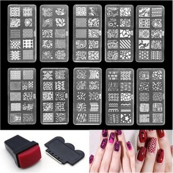 Nail Art Stamp Stencil Stamping Template Plate Set Tool StamperDesign Kit White 6*12cm - intl