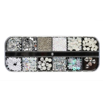 Nail Sequins Rhinestones Hollow Acrylic Nail Art Decoration Long Design - intl
