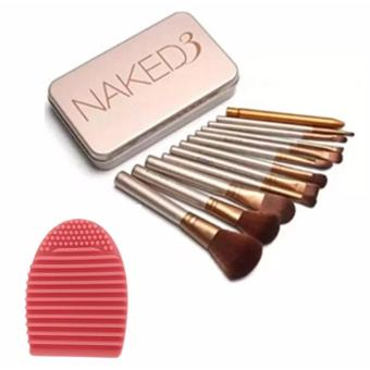 Naked 12 pcs Professional 3 Power Makeup Brushes with Egg CleanerBrush (Pink)