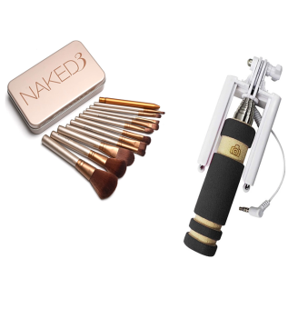 Naked 12 pcs Professional 3 Power Makeup Brushes With Mini FoldableAll-In-One Monopod with Remote Clicker