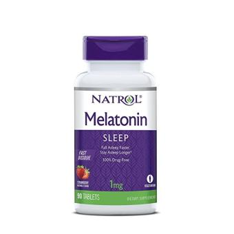 Natrol Melatonin Fast Dissolve Tablets, Strawberry flavor, 1mg, 90 Tablets