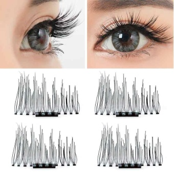 Natural 3D Magnetic False Eyelashes Handmade Extension Eye LashesReusable Tool - intl