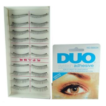 Natural Black Long False Eyelashes (10 Pairs) with Duo EyelashAdhesive