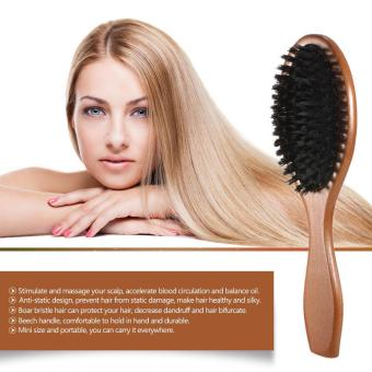 Natural Boar Bristle Hair Brush Comb Oval Anti-static Paddle HairExtension Brush Scalp Massage Beech Wooden Handle - intl