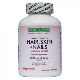 Nature's Bounty Hair, Skin, and Nails Argan Oil Infused 5000 mcgBiotin Softgel Capsules, Bottle of 250 Price Philippines