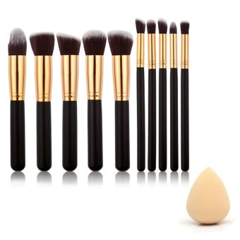 New 10 PCS Make Up Makeup Cosmetic Brushes and Water Droplet ShapeSponges Beauty Tool Makeup Powder Puff Random Color