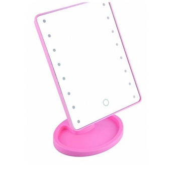 New 2017 Best Quality Bright Light Make Up Vanity IlluminatedDesktop Table Makeup Stand Mirror with 16 LED Light (Pink)