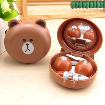 New Design Cute Little Bear Contact Lens Case with Mirror Contact Lenses Box for Man and Women - intl
