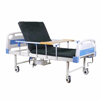 New Unicorn Adjustable Hospital Bed with wheels and a Built-inCommode (Blue)