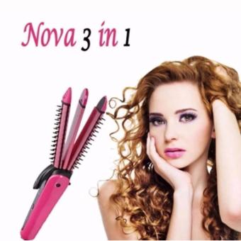 NHC-8890 3in1 NOVA Professional Electric Hair Curler RollerStraightener Waver Crimp Irons Women Styling Tool Hair CurlingRound Brush 220V 360? Rotating Power Cord (Pink)