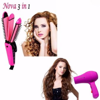 NHC-8890 3in1 NOVA Professional Electric Hair Curler RollerStraightener Waver Crimp Irons Women Styling Tool Hair CurlingRound Brush 220V 360? Rotating Power Cord (Pink) with Hair Dryer(color may vary)