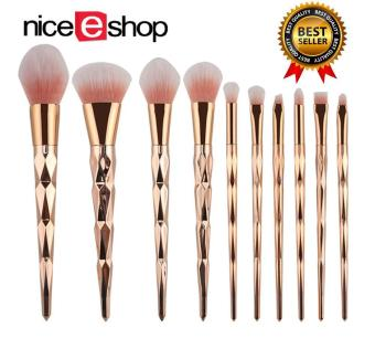 niceEshop Unicorn Thread Professsional 10pcs Makeup CosmeticBrushes Set With Rose Gold Delicate Diamond Shape Handle (RoseGold)