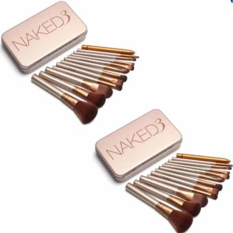 Nked 12 pcs Professional 3 Power Makeup Brushes Set of 2