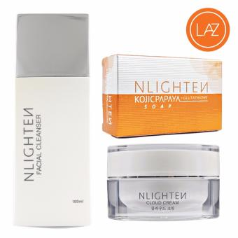 NLIGHTEN Acne Set ( NLIGHTEN Cloud Cream, NLIGHTEN Facial Cleanser,NLIGHTEN Kojic Papaya Soap with Glutathione )