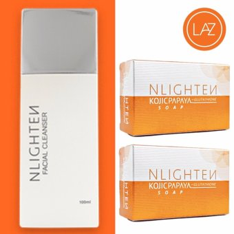 Nlighten Set for Oily Skin ( Nlighten Kojic Papaya Soap withGlutathione 2, Nlighten Facial Cleanser )