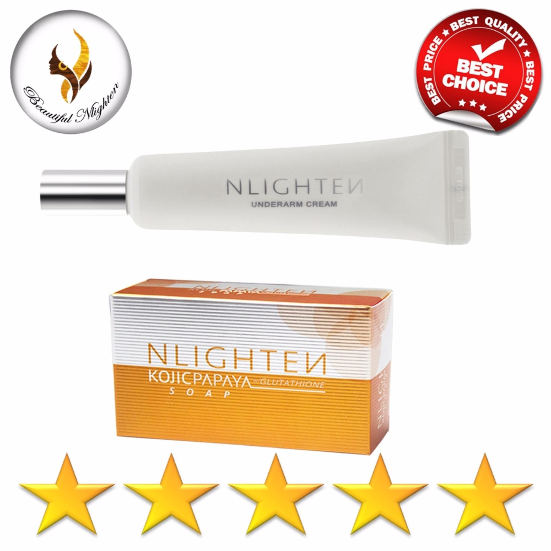 NLighten Underarm Instant Brightening Set of Kojic Papaya Soap and Underarm Cream