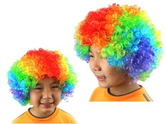 Novelty Short Afro Full Lace Curly Clown Party Wigs Soccer Fans Halloween Fancy Dress Curl up Fake Hair Wig Coloured