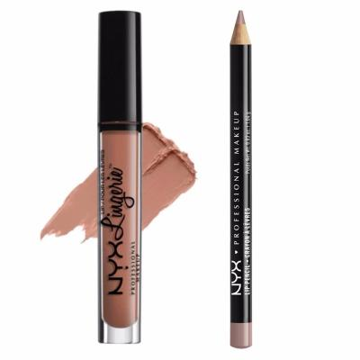 Nyx Professional Makeup LIPPIE SET: LIPLI03 Lip Lingerie - Lace Detail + SPL810 Slim Lip Pencil - Natural