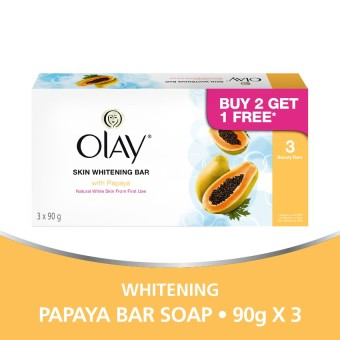 Olay Skin Whitening Bar Soap with Papaya 90g Pack of 3