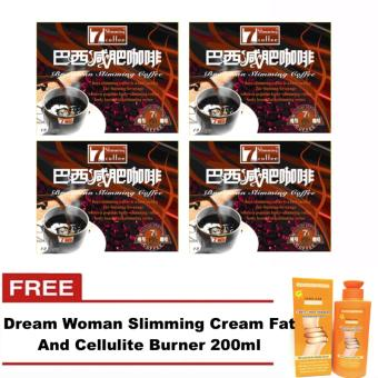 Original 7Day Slimming Brazilian Coffee (Set of 4) with FREE DreamWoman Slimming Cream Fat And Cellulite Burner 200ml