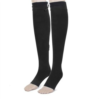 Pair of Zippered Open Toe Compression Knee High Socks Stockings - Size L (Black)