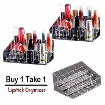 Phoebe's Clear Acrylic 24 Lipstick Holder Display Stand Cosmetic Organizer (BUY 1 TAKE 1)