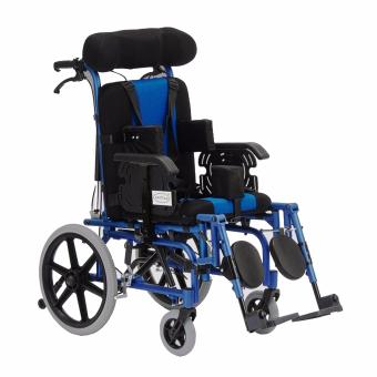 Phoenixhub Cerebral Palsy Multi Functional Heavy Duty stainless steel Wheelchair medium size (lBLUE)