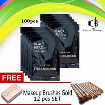 Pilaten Facial Minerals Conk Nose Blackhead Remover Mask Set of 100with FREE Makeup Brushes SET 12pcs (Gold)