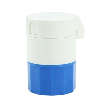 Pill Medicine Crusher Splitter Tablet Divider Cutter 4 Layer Storage Box color:Blue - intl