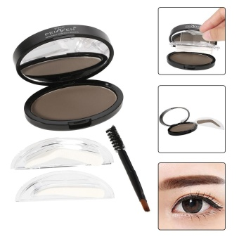 PNF Brow Stamp Powder Eye Brow Straight United Enhancer With 2Pairs Brow Stamps Brush Mirror 3# Light Brown - intl
