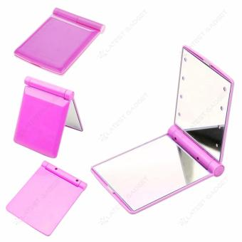Pocket Makeup Mirror With LED Light (Pink)