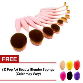 Pop Art 10 Pieces Professional Toothbrush Shape Oval Make-Up BrushSet (Pink) with FREE Blender Sponge (Color May Vary)