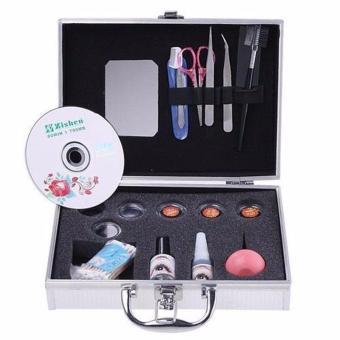 Profession Eye Lash False Eyelashes Extension Kit Full Set W/Silver Color Case