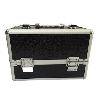Professional Aluminum Makeup Case (Black Crocodile Grain)