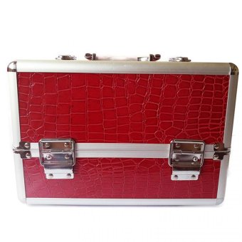 Professional Aluminum Makeup Case (Red Crocodile Grain)