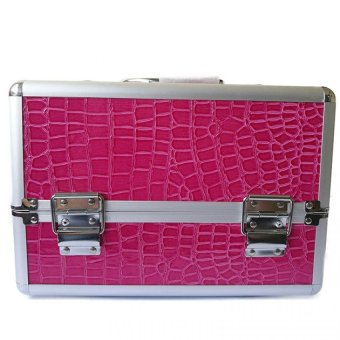 Professional Aluminum Makeup Case (Rose Red Crocodile Grain)