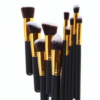 Professional Soft Make Up Brush Set of 10 (Kabuki-Black/Gold)