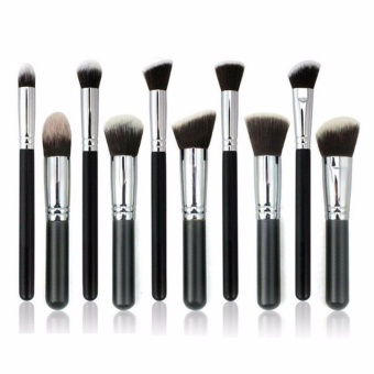 Professional Soft Make Up Brush Set of 10 (Kabuki-Black/Silver)