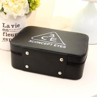 PU Leather Cosmetic Bag Make-up Storage Box Case Organizer - black - 3