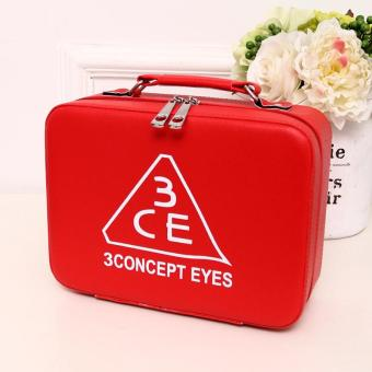 PU Leather Cosmetic Bag Make-up Storage Box Case Organizer - red