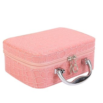 PU Leather Cosmetic Makeup Box Case Toiletry Organizer StorageHandbag With Mirror Crocodile Pattern Pink